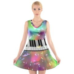 Piano Keys Music Colorful 3d V Neck Sleeveless Skater Dress