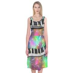 Piano Keys Music Colorful 3d Midi Sleeveless Dress