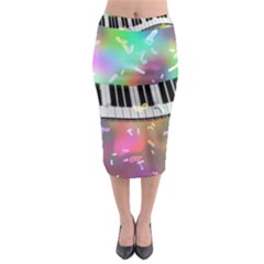 Piano Keys Music Colorful 3d Midi Pencil Skirt