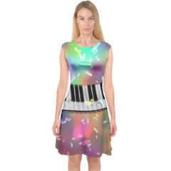 Piano Keys Music Colorful 3d Capsleeve Midi Dress