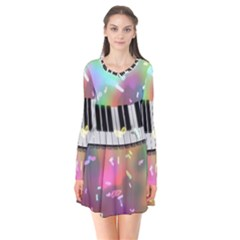 Piano Keys Music Colorful 3d Flare Dress