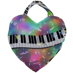 Piano Keys Music Colorful 3d Giant Heart Shaped Tote