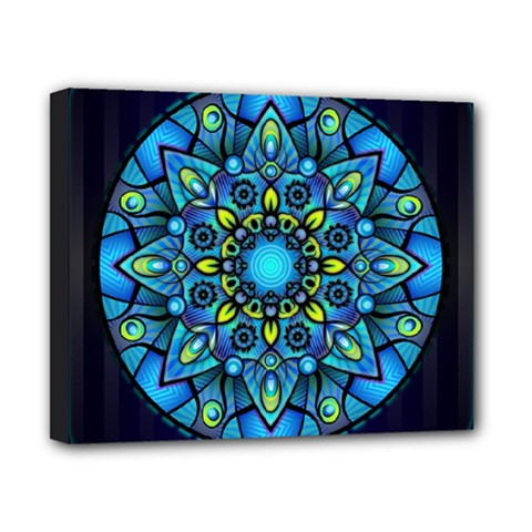 Mandala Blue Abstract Circle Canvas 10  X 8