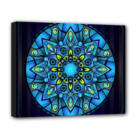 Mandala Blue Abstract Circle Deluxe Canvas 20  X 16