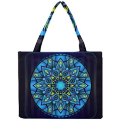 Mandala Blue Abstract Circle Mini Tote Bag