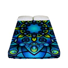 Mandala Blue Abstract Circle Fitted Sheet (full/ Double Size)