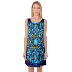 Mandala Blue Abstract Circle Sleeveless Satin Nightdress