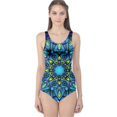 Mandala Blue Abstract Circle One Piece Swimsuit