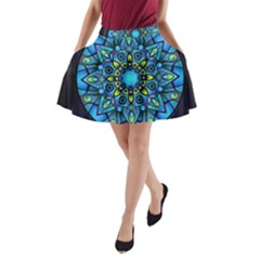 Mandala Blue Abstract Circle A Line Pocket Skirt