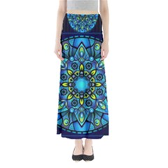 Mandala Blue Abstract Circle Full Length Maxi Skirt
