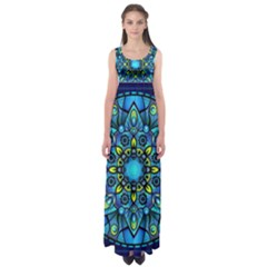 Mandala Blue Abstract Circle Empire Waist Maxi Dress