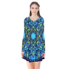 Mandala Blue Abstract Circle Flare Dress