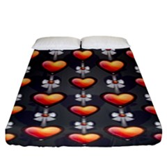 Love Heart Background Fitted Sheet (king Size)