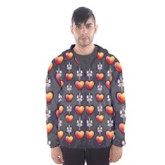 Love Heart Background Hooded Wind Breaker (men)