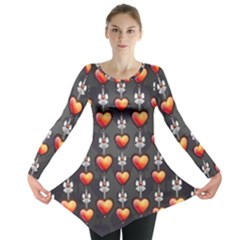 Love Heart Background Long Sleeve Tunic