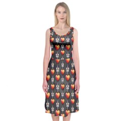 Love Heart Background Midi Sleeveless Dress