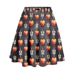 Love Heart Background High Waist Skirt by Nexatart