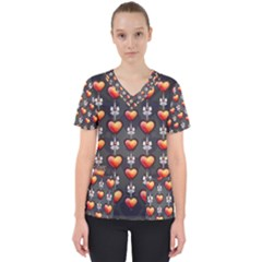 Love Heart Background Scrub Top