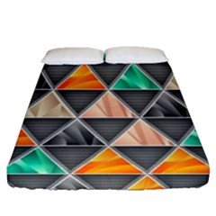 Abstract Geometric Triangle Shape Fitted Sheet (queen Size)