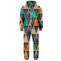 Abstract Geometric Triangle Shape Hooded Jumpsuit (men)