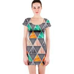Abstract Geometric Triangle Shape Short Sleeve Bodycon Dress