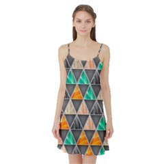 Abstract Geometric Triangle Shape Satin Night Slip