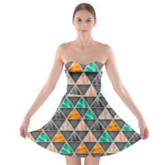 Abstract Geometric Triangle Shape Strapless Bra Top Dress