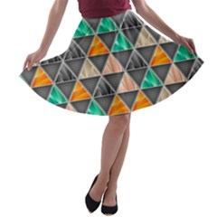 Abstract Geometric Triangle Shape A Line Skater Skirt