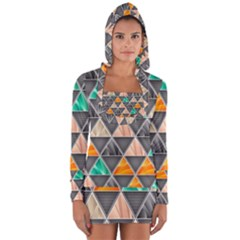 Abstract Geometric Triangle Shape Long Sleeve Hooded T Shirt
