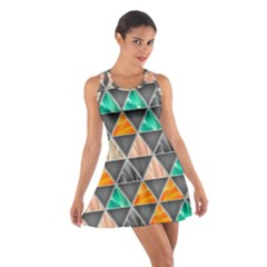 Abstract Geometric Triangle Shape Cotton Racerback Dress