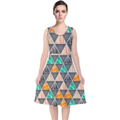 Abstract Geometric Triangle Shape V Neck Midi Sleeveless Dress