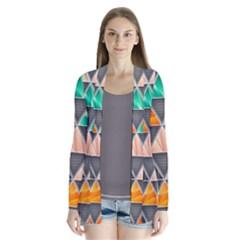 Abstract Geometric Triangle Shape Drape Collar Cardigan