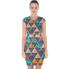 Abstract Geometric Triangle Shape Capsleeve Drawstring Dress