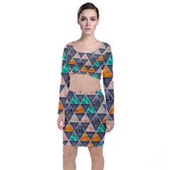 Abstract Geometric Triangle Shape Long Sleeve Crop Top & Bodycon Skirt Set