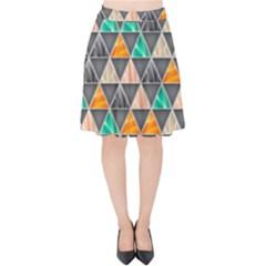 Abstract Geometric Triangle Shape Velvet High Waist Skirt