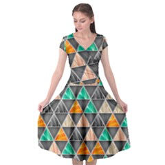 Abstract Geometric Triangle Shape Cap Sleeve Wrap Front Dress