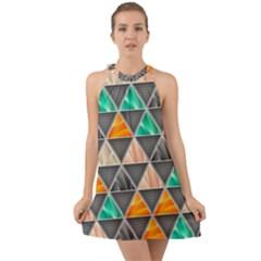 Abstract Geometric Triangle Shape Halter Tie Back Chiffon Dress