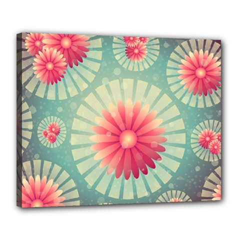 Background Floral Flower Texture Canvas 20  X 16