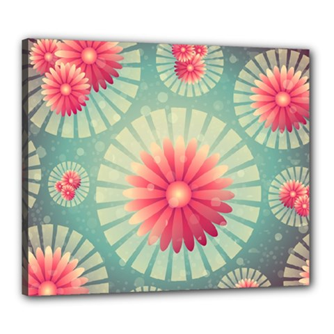 Background Floral Flower Texture Canvas 24  X 20