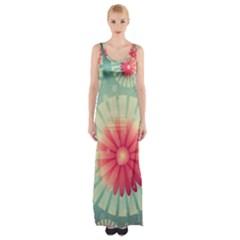Background Floral Flower Texture Maxi Thigh Split Dress