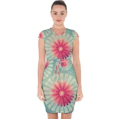 Background Floral Flower Texture Capsleeve Drawstring Dress