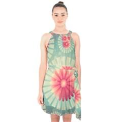 Background Floral Flower Texture Halter Collar Waist Tie Chiffon Dress