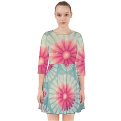 Background Floral Flower Texture Smock Dress