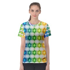 Background Colorful Geometric Women s Sport Mesh Tee