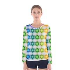 Background Colorful Geometric Women s Long Sleeve Tee