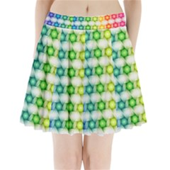 Background Colorful Geometric Pleated Mini Skirt