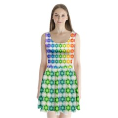 Background Colorful Geometric Split Back Mini Dress