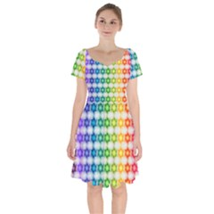 Background Colorful Geometric Short Sleeve Bardot Dress