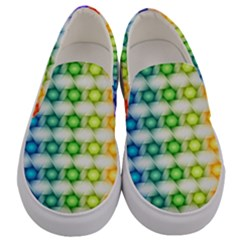 Background Colorful Geometric Men s Canvas Slip Ons