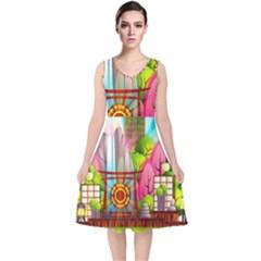 Zen Garden Japanese Nature Garden V Neck Midi Sleeveless Dress